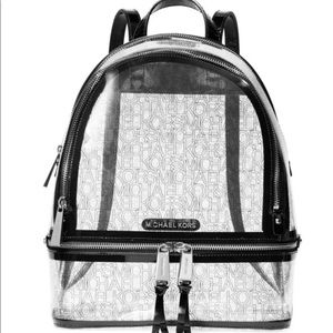 Michael Kors clear and black backpack
